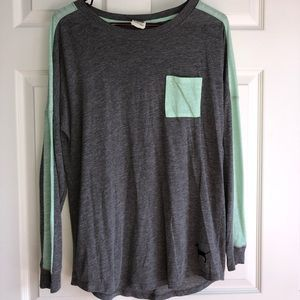 grey and mint shirt